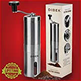 DIBEK UPGRADED VERSION Manual Coffee Grinder, Conical Burr Mill, Brushed Stainless Steel - Lifetime Warranty