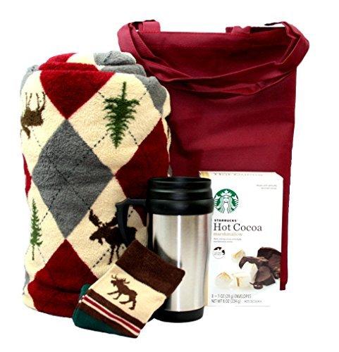College Student Gift Blanket Travel Mug Starbucks Cocoa Socks Tote Bag Fall Decor