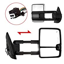 Scitoo Power Heated Chrome Side Mirrors For 07-14 Silverado Sierra Towing LED Turn Signal Lights Pair Set