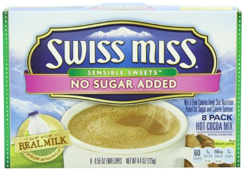 Swiss Miss Hot Cocoa Mix, Sensible Sweets, No Sugar Added, 8 x 0.55 Oz. Envelopes (Pack of 12)