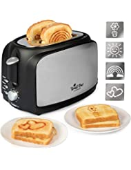 Toast On! Happy Toaster - Extra-Wide 2-Slot Impression Toaster - Customize breakfast w 4 Interchangeable Design Plates - Spread Morning Cheer