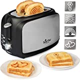 Extra Wide 2-Slot Customizable Double Toast Impression Toaster - Make Breakfast Fun w 4 Interchangeable Design Plates- Rainbow, Flower, Heart and Sun Emoji Patterns