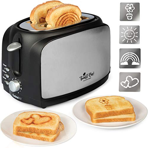 Toast On! Happy Toaster – Extra-Wide 2-Slot Impression Toaster – Customize breakfast w 4 Interchangeable Design Plates – Spread Morning Cheer