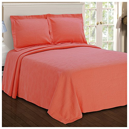 Superior Paisley Jacquard Matelassé 100% Premium Cotton Bedspread with Matching Shams, Twin, Coral