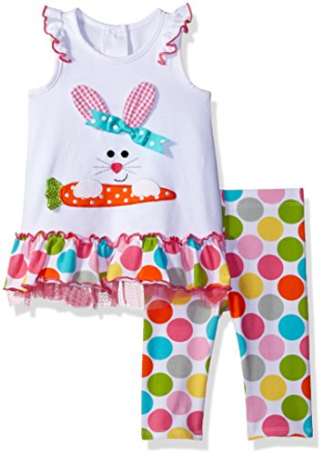 Bonnie Baby Girls' Sleeveless Dot Bunny Appliqued Playwear Set, White, 12M