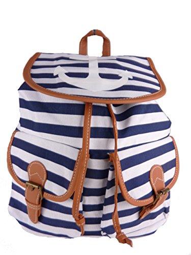 Bolsos para mujer - mochila de tela con ancla - rayas - 32x35x13cm blau marineblau