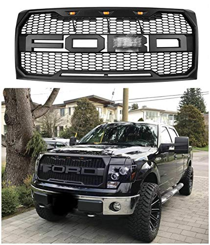 Front Grille Fits For 2009-2014 Ford F-150 F150 Grille Matte Black Raptor Style Grille Conversion Grill w/F R