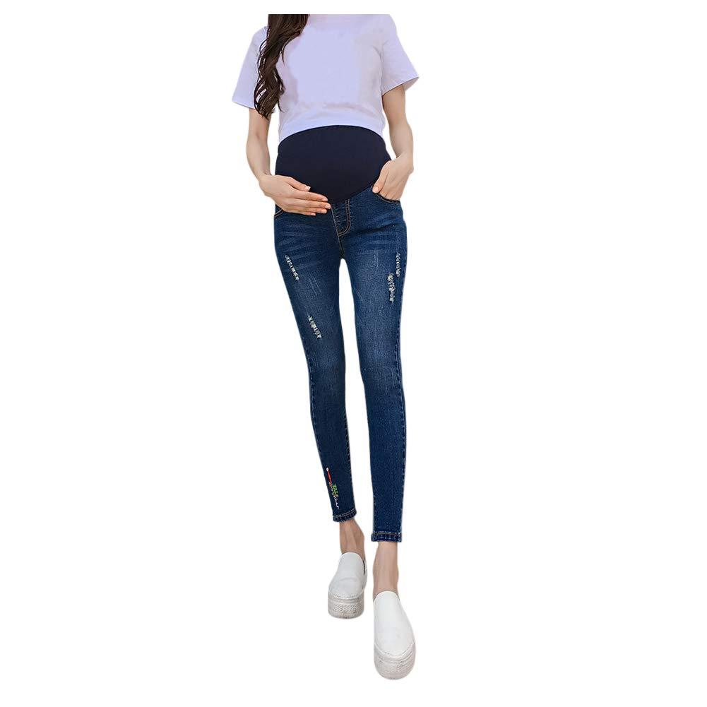 Janjunsi Maternity Jeans - Women Pregnancy Skinny Ripped Soft Elastic Pants