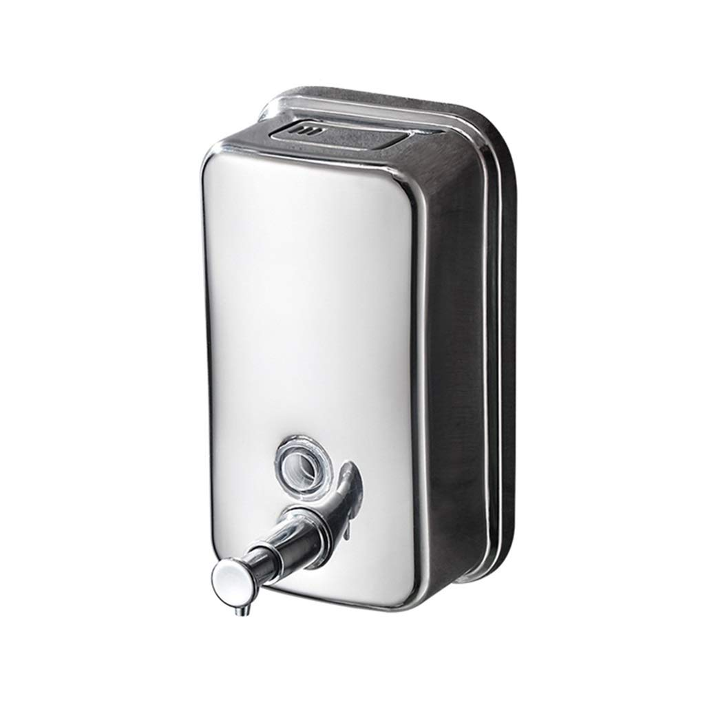 Ppy778 Soap Dispenser Wall-Mounted 304 Stainless Steel soap Dispenser Commercial Large Capacity School Bathroom Hand soap Bottle (Color : Silver, Size : 1510.510CM) by Ppy778