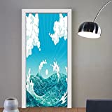 Gzhihine custom made 3d door stickers Nautical Foamy Ocean Waves with Fluffy Clouds in Air Sun Summer Sea Display Sky Blue White Turquoise For Room Decor 30x79