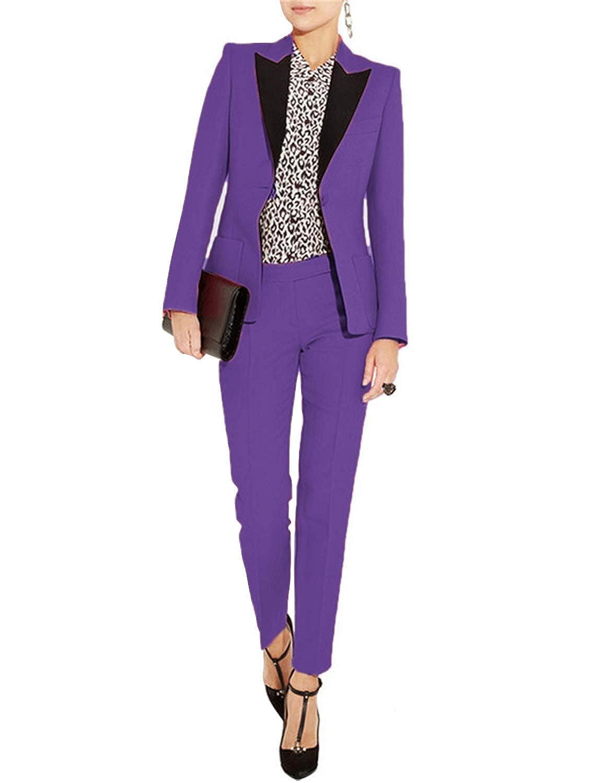 Purple Lilis Women's Suits Slim 2 Pieces Blazer One Button Tuxedo Pants & Jacket Set Prom