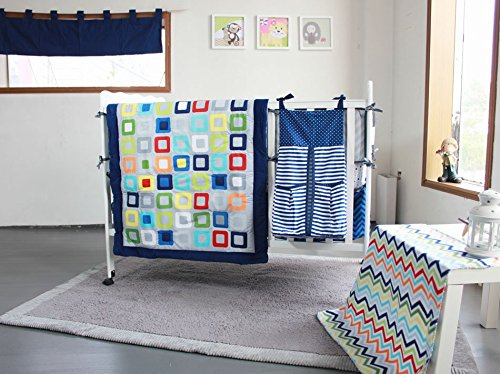 NAUGHTYBOSS Baby Bedding Set Cotton 3D Embroidery Colorful Tetris Quilt Bumper Mattress Cover Urine Bag Blankets 9 Pieces Multicolor by NAUGHTYBOSS