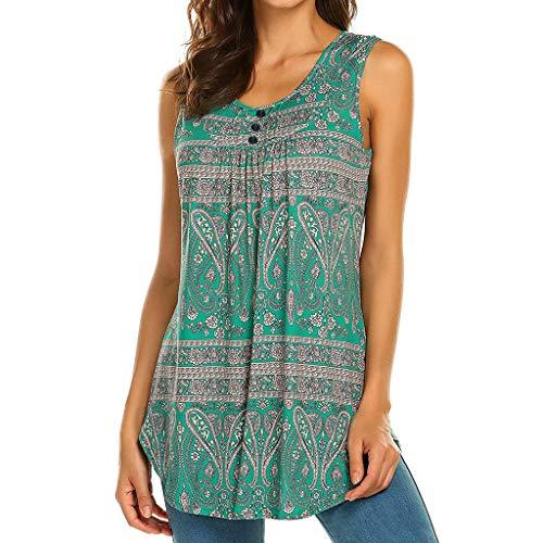 Zackate_Women Shirts Women Sleeveless Floral Print Swing Tunic Tank Tops ()