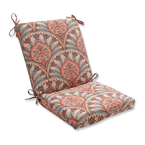 Mediterranean Patio Furniture - Pillow Perfect Outdoor/Indoor Crescent Beach Cayenne Squared Corners Chair Cushion