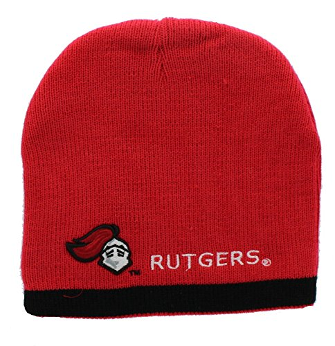 New! Rutgers Scarlet Knights Embroidered Beanie Hat Reversible Knit Skull (Scarlet Knit Hat)