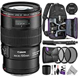 Canon EF 100mm f/2.8L is USM Macro Lens w/Advanced Photo and Travel Bundle - Includes: Altura Photo Sling Backpack, Monopod, UV-CPL-ND4, Camera Cleaning Set