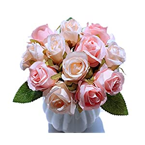 famibay Artificial Rose 2pc, Elegant Fake Flowers Bridal Wedding Bouquet Silk Plastic Faux Floral with Stems for Home Party Decoration 61