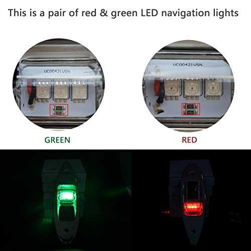 iztor 12V Marine Boat Yacht LED Navigation Side bow Lights Pair Stainless Steel- Red & Green by iztor (Image #2)