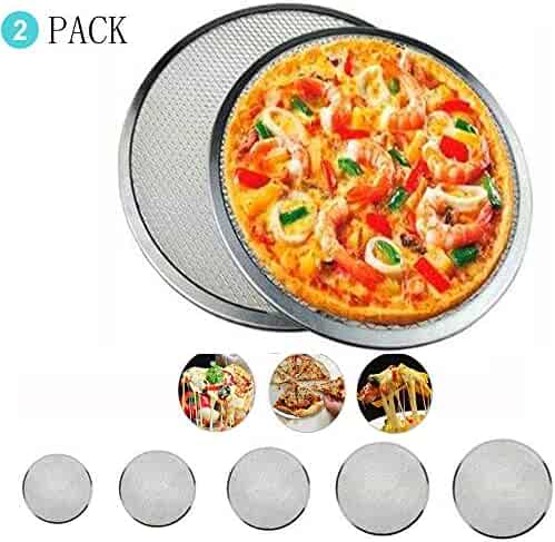 Pizza Pan Screen with Holes Seamless Aluminum Pizza Pan Non-Stick Mesh Baking Tray Tool Chef's Baking Screen Round Food Crisper Bakeware Net Plate