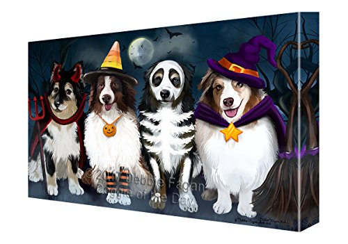 (Happy Halloween Trick or Treat Australian Shepherds Dog in Costumes Canvas Wall Art)