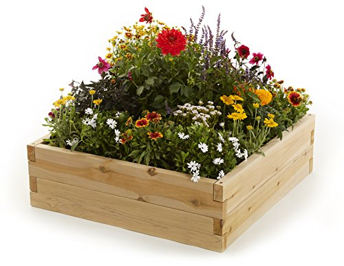 Naturalyards Raised Garden Bed, Square (Rustic Cedar, 3'x3'x11'') by Naturalyards