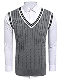 Coofandy Mens Casual Slim Fit Knitted V neck Pullover With Twisted Patterned Sweater