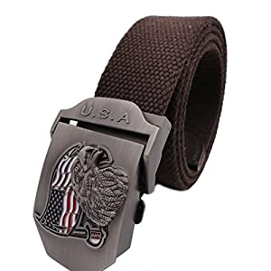Queyu Men's Tactical Canvas Cotton Belts US Army Air Force Belts Metal Buckle
