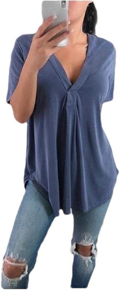 Tralounry Womens Loose V Neck Tops Oversize Short Sleeve Luxury Tee Tshirt