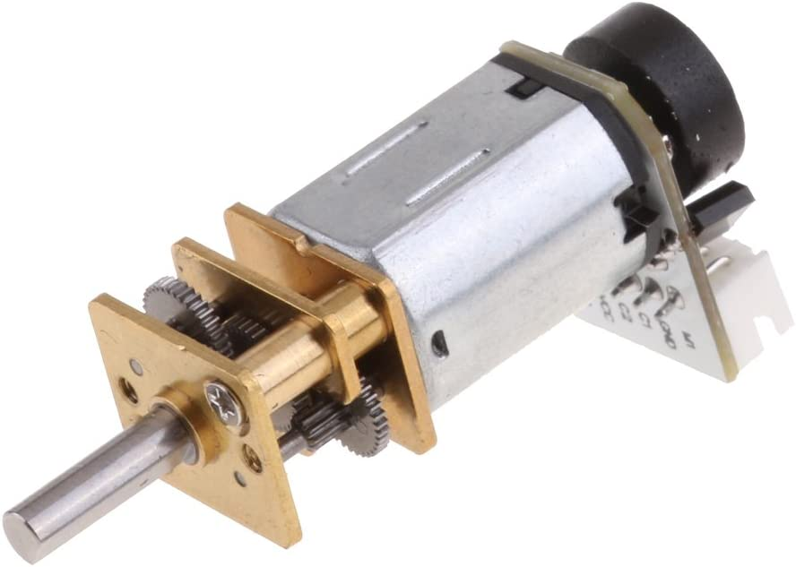 Homyl N20 DC12V Speed Reduction Micro Gear DC Motor with Metal Gearbox Coder Encoder 78rpm-3000rpm 300rpm