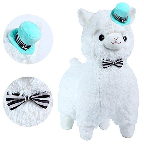 hot sale KOSBON Alpaca en peluche blanc de 16 po avec écharpe et chapeau,  jouet 145dbe4dfac