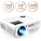 DBPOWER RD-819 Projector, 3200 Lumens LCD Video Projector, Multimedia Portable Home Theater Projector Support 1080P HDMI USB SD VGA AV for Home Cinema TV Laptop Game iPhone Andriod