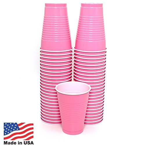 Amcrate Pink Colored 12-Ounce Disposable Plastic Party Cups - Ideal for Weddings, Party's, Birthdays, Dinners, Lunch's. (Pack of 50)