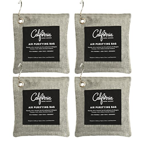 4-Pack Activated Bamboo Deodorizers, 200g Natural Odor Eliminators, Charcoal Grey-Colored Air Purifying Bags with Hooks, Scent Absorber, Eco-Friendly Odor Neutralizer for Home, Car, Shoes and More.