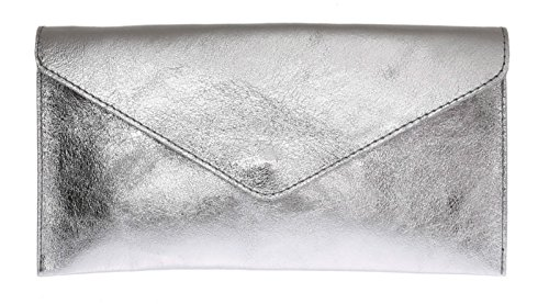 Prom Suede Handbag Silver Rebecca Party Purse Shaped Genuine Clutch Verapelle Large Brand Metalic Italian Envelope Bag qfRAO