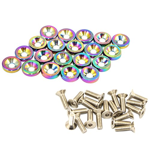 Chrome Engine Kit - JDMSPEED 20 Pcs Neo Chrome CNC Billet Aluminum Fender Washer Engine Bay Dress Up Kit