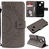 Floral Wallet Case for Huawei P Smart,Strap Flip Case for Huawei P Smart,Leecase Embossed Totem Flower Design Pu Leather Bookstyle Stand Flip Case for Huawei P Smart-Grey