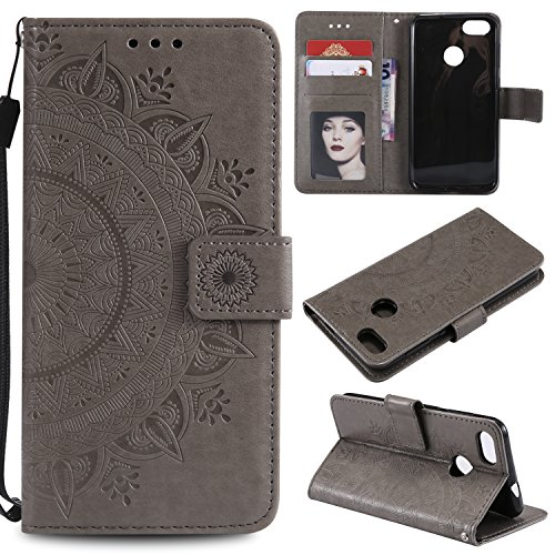 Floral Wallet Case for Huawei P Smart,Strap Flip Case for Huawei P Smart,Leecase Embossed Totem Flower Design Pu Leather Bookstyle Stand Flip Case for Huawei P Smart-Grey by Leecase