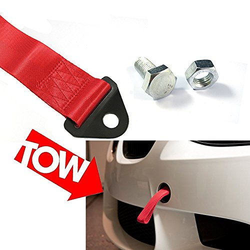 1x JDM Sports Hot Red High Strength Racing Tow Strap Set For Front Rear Bumper Towing Hook - Must Remove Tow Hooks