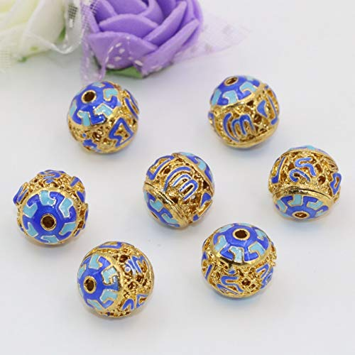 - Calvas 12mm Gold-Color Vintage Style Round Ball Hollow spacers Beads Cloisonne Enamel Accessories 5pcs Elegant Jewelry Making B2518