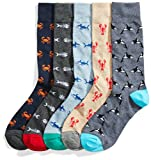 Goodthreads Men's 5-Pack Patterned Socks, Assorted Sea Life, Shoe Size: 8-12