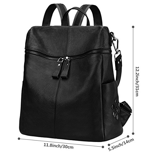 Shoulder Black ZONE Purse S Genuine Women Medium Leather Backpack Casual Bag nYxZSvgWx