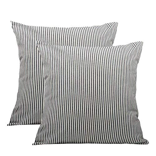 (Shamrockers Farmhouse Striped Throw Pillow Cover Decorative Cotton Linen Ticking Stripe Cushion Pillowcase (18
