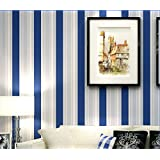Wallpaper Blue Stripes Mediterranean Wallpaper Bedroom Living Room Wallpaper Background Wall Paper(0.53m*10m)
