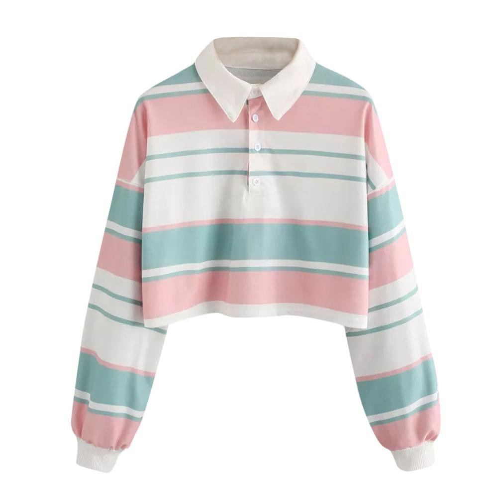 Kanzd Women Blouse Womens Casual Drop Shoulder Striped Crop Pullover Sweatshirt Top Blouse (Multicolor, S)