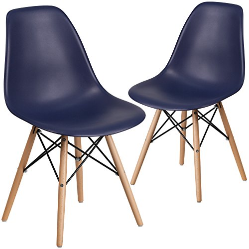 Flash Furniture 2 Pk. Elon Series Navy Plastic Chair with Wood Basease