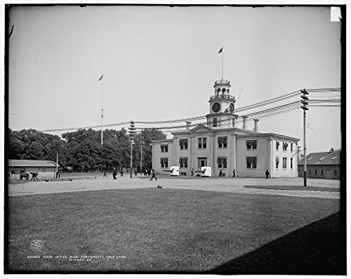 Vintography 16 x 20 Ready to Hang Canvas Wrap Main Office BLDG Portsmouth Navy Yard Kittery Me 1908 Detriot Publishing 83a ()