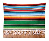 Lunarable Mexican Tapestry King Size, Boho Serape Blanket Horizontal Stripes Lines Authentic Cultures Picture, Wall Hanging Bedspread Bed Cover Wall Decor, 104 W X 88 L inches, Multicolor