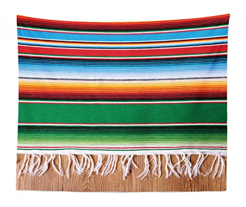 Lunarable Mexican Tapestry King Size, Boho Serape Blanket Horizontal Stripes Lines Authentic Cultures Picture, Wall Hanging Bedspread Bed Cover Wall Decor, 104 W X 88 L inches, Multicolor by Lunarable