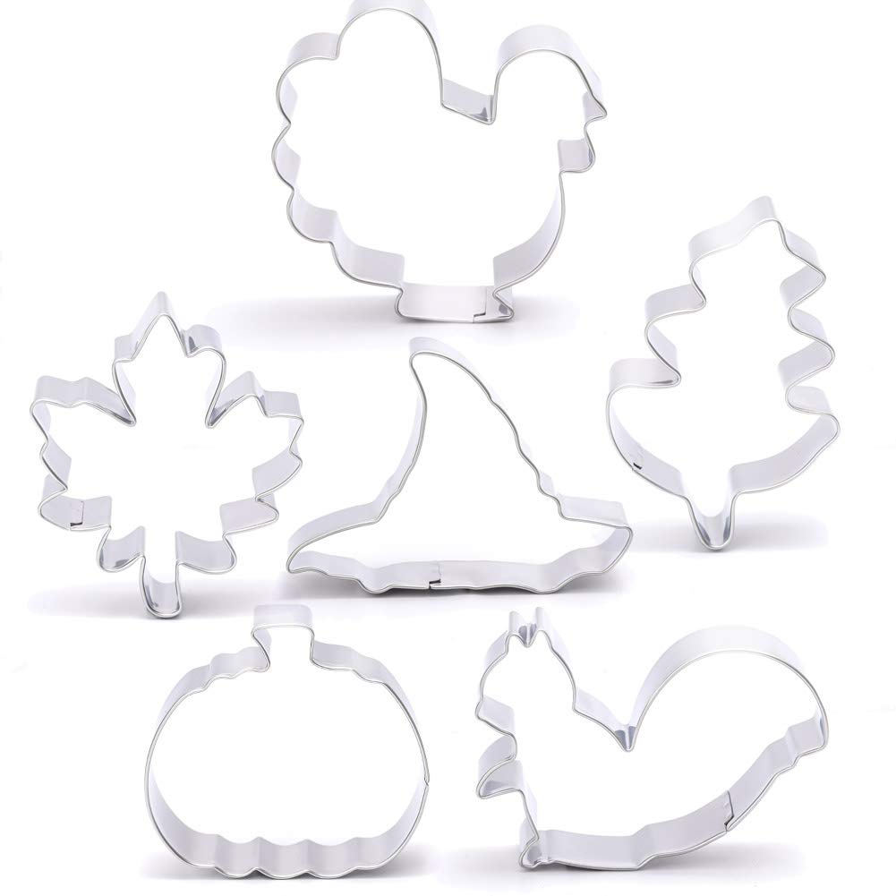 Fall Thanksgiving Cookie Cutters Set - 6 Pieces - Pumpkin, Turkey, Maple Leaf, Oak Leaf,Squirrel and Hat - Stainless Steel