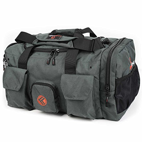 "King Kong Giant Kong Original Nylon Gym Bag - Large Heavy Duty and Water-Resistant Duffle Bag - Military Spec Nylon- Heavy Duty Steel Buckles - 18"" x 13.5"" x 13"" - Charcoal"